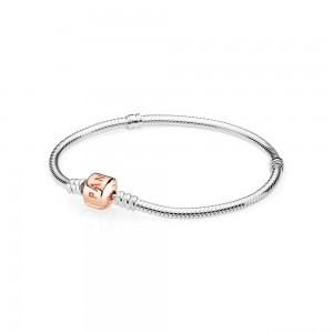 Bracelet Moments Argent, fermoir PANDORA Rose