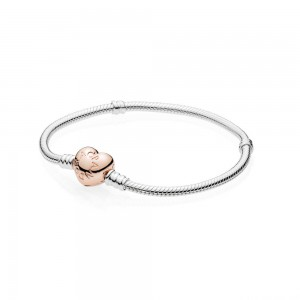 Bracelet Moments en Argent, Fermoir Cœur PANDORA Rose