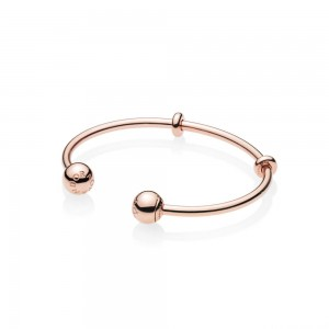 Jonc Ouvert Moments en PANDORA Rose, Fermoirs Signature PANDORA