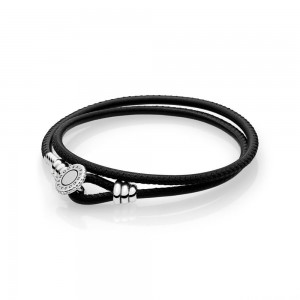 Bracelet Moments Double en Cuir, Noir