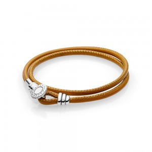 Bracelet Moments Double en Cuir, Brun orangé