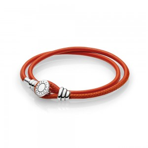 Bracelet Moments Double en Cuir, Orange Épicé