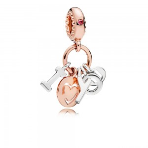 Charm pendentif I Love You PANDORA Rose